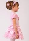 """Нарядная блузка розового цвета с коротким рукавом """"фонарик"""" и воротником-стойкой."""