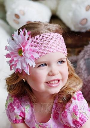 """Кружевная повязка с цветком """"Эмилия"""".Восхитительное украшение для маленьких модниц."""